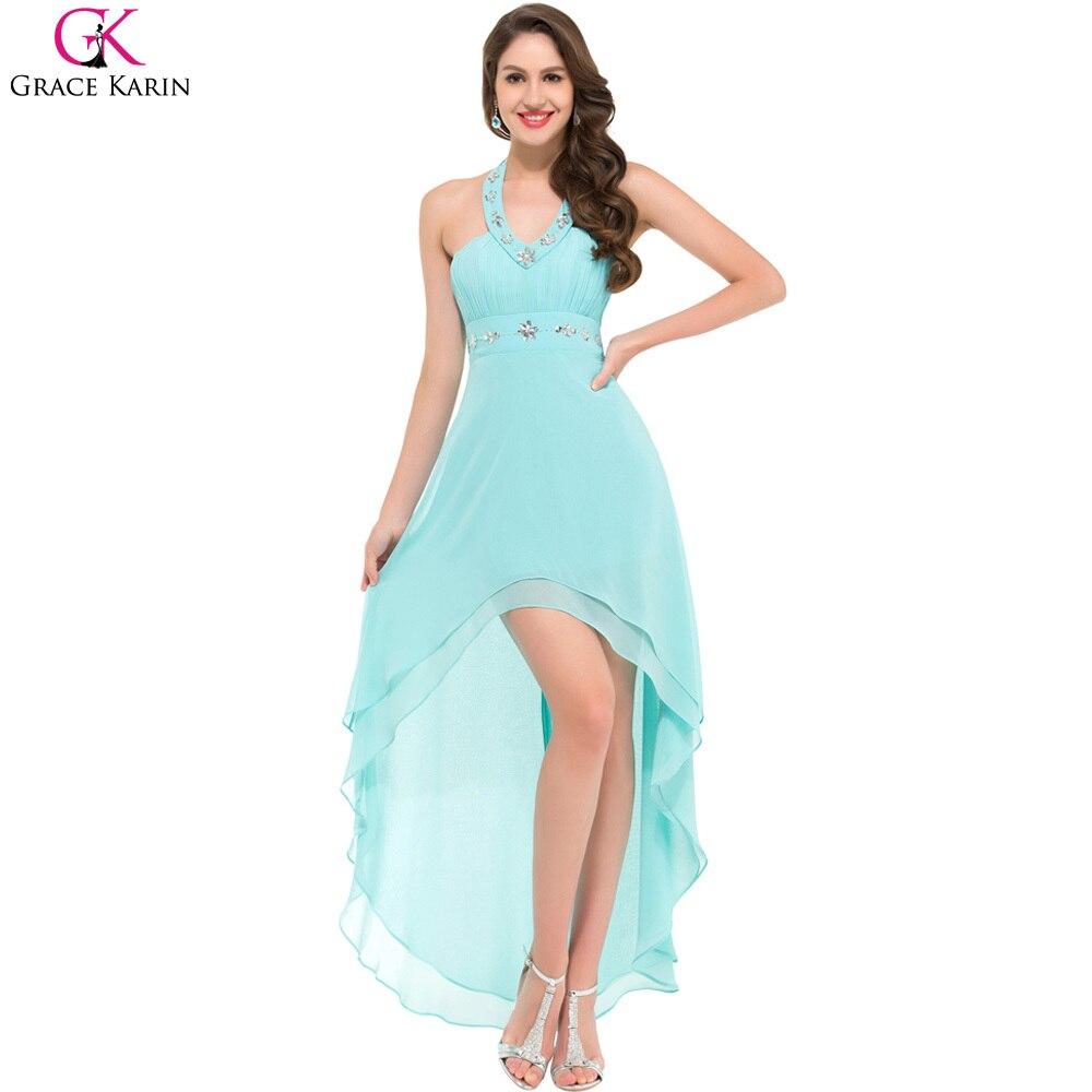 Black Prom Dresses Grace Karin Halter Chiffon High Low Light Blue ...