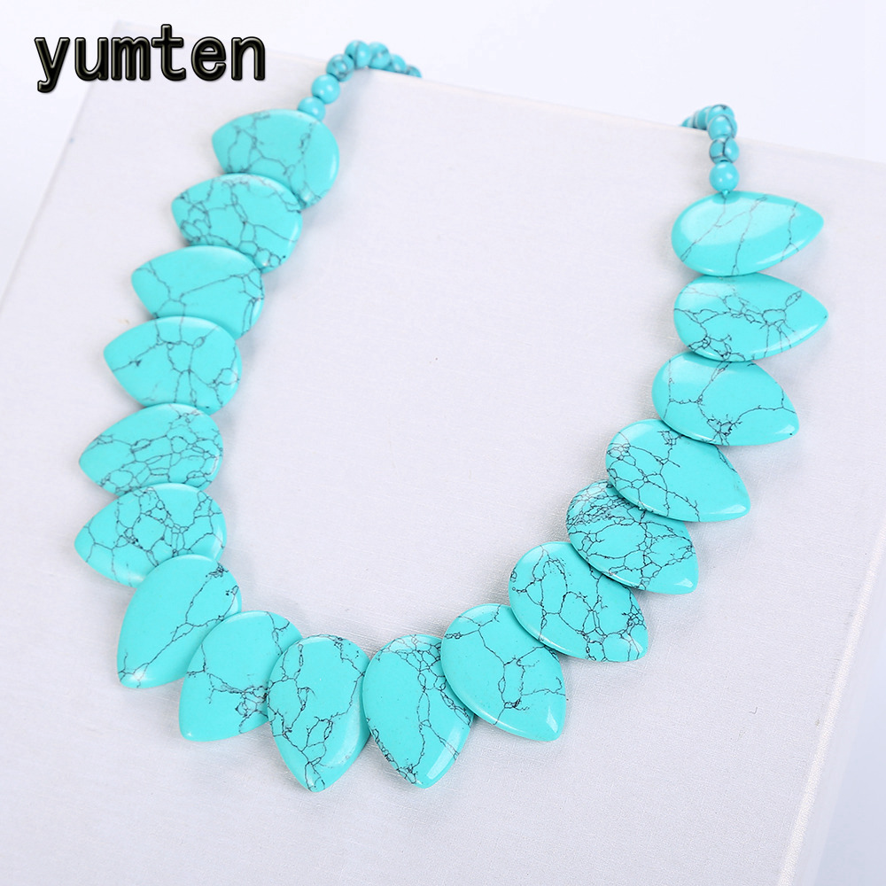 Yumten Turquoise Necklace Women Accessories Leaf Choker Flower Charms Female Jewelry Bijuterias Collares Sautoir Dropshipping vintage faux turquoise leaf pendant necklace for women