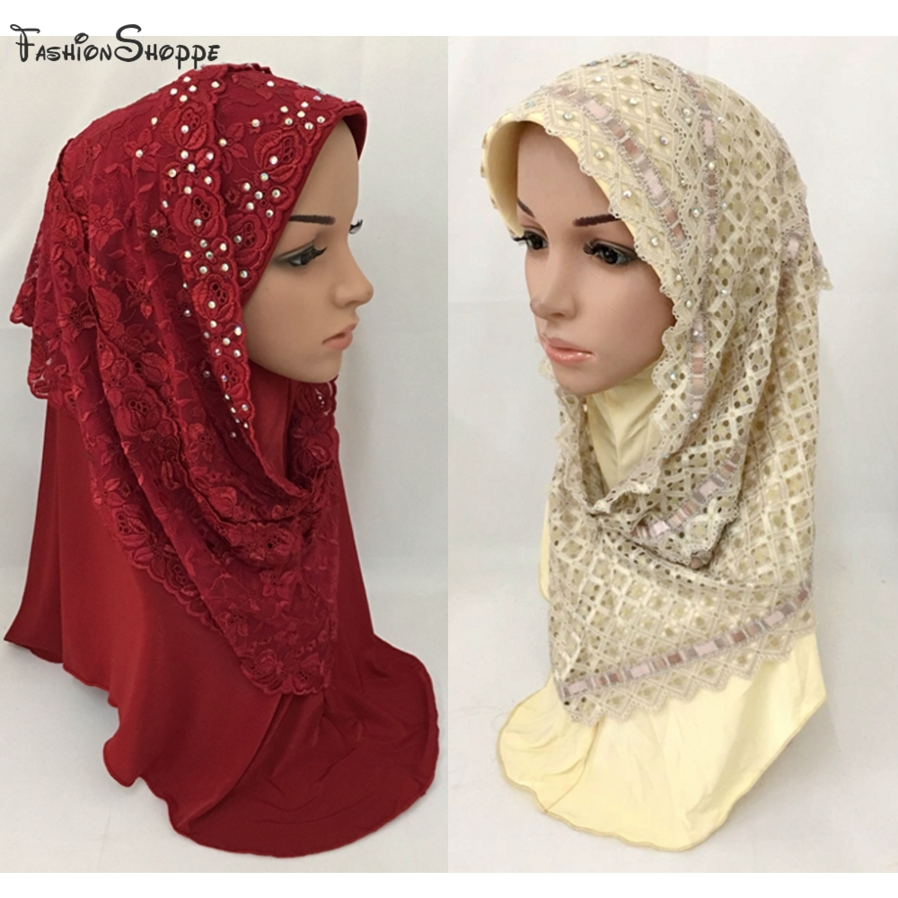 Aspiring Muslim Islamic Lace Embroidery Hijab Elasticity Scarf Woman Amira Cap Beautiful Drill With Flower #ml670 Unequal In Performance