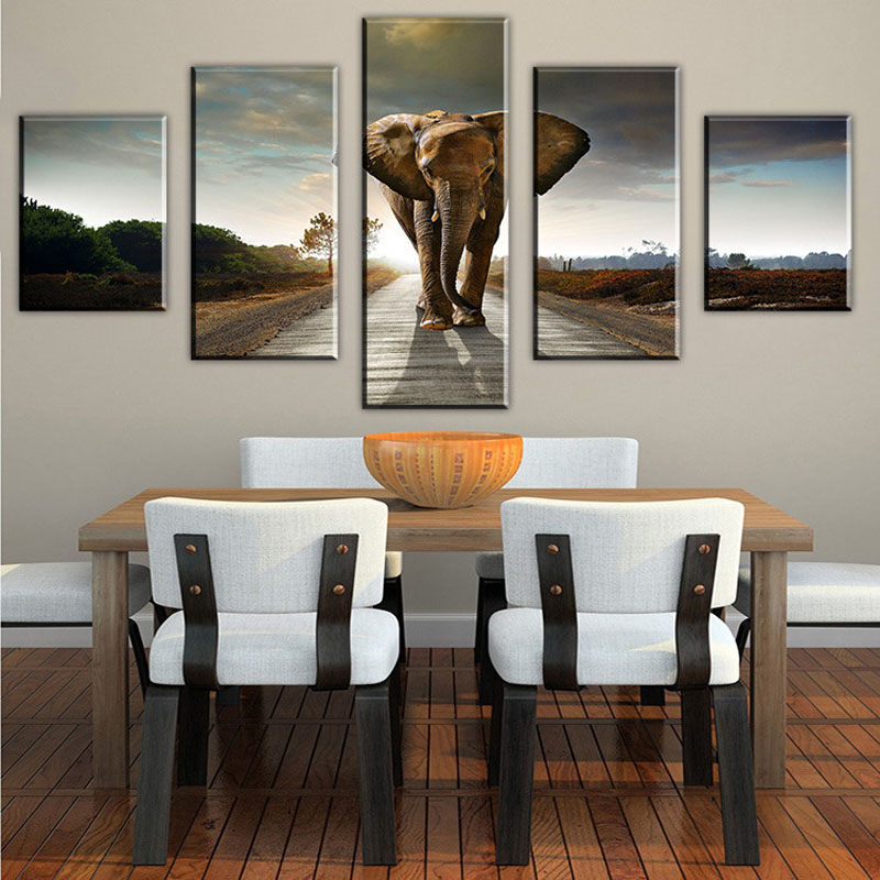 aliexpresscom buy 5 panel elephant painting wall art picture home decoration living room print painting modern canvas prints framed art no frame from