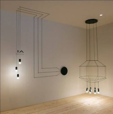 3 6 heads modern cable hanging light diy creative nordic iron geometry line suspension luminaire. Black Bedroom Furniture Sets. Home Design Ideas