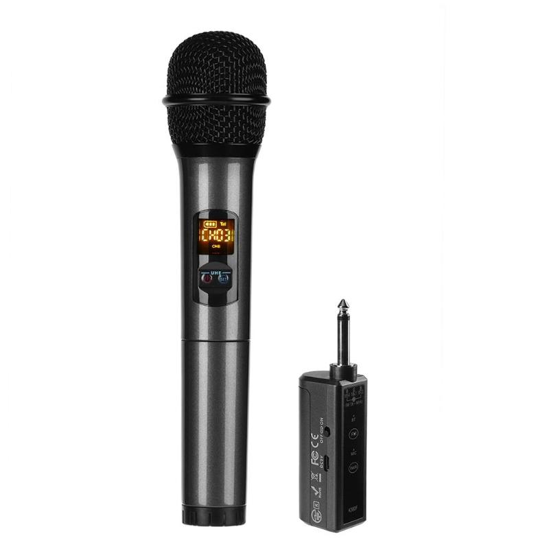 Alloyseed Black Professional Handheld Wireless UHF Microphone FM Bluetooth Mic With Receiver For Speech professional uhf wireless handheld microphone beta 58a handheld mic handheld transmitter