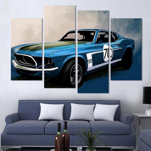 4 pcs blue sports car wall art painting home decoration living room canvas print painting wall