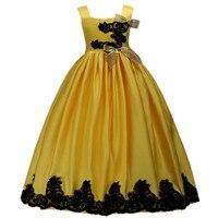 שמלת פרח ילדה ילדים תחרת תחרות רצועות ספגטי מסיבת חתונת נסיכת חתונה בנות שמלות 4 6 7 8 9 10 11 12 13 14 שנים