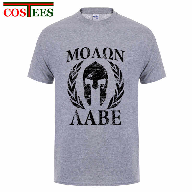 Molon Labe Spartan II męskie Anime tokio ghul ken kaneki T koszula lato crossfit SWAG okrągły Neck popularne koszulki z krótkim rękawem doskonałe wstępnie bawełna O-Neck prawdziwe Tee Shirt madryt