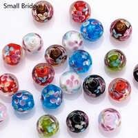 14Mm Murano Transparent Runde Murano Glas Perlen Für Herstellung Von Schmuck Diy Zubehör frauen Perles Handgemachte Blume Lose Perle