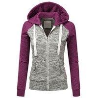 2018 Women Autumn Winter Casual Long Sleeve Thin Zip Plus Size Contrast Hood Hoodies Jacket Coat