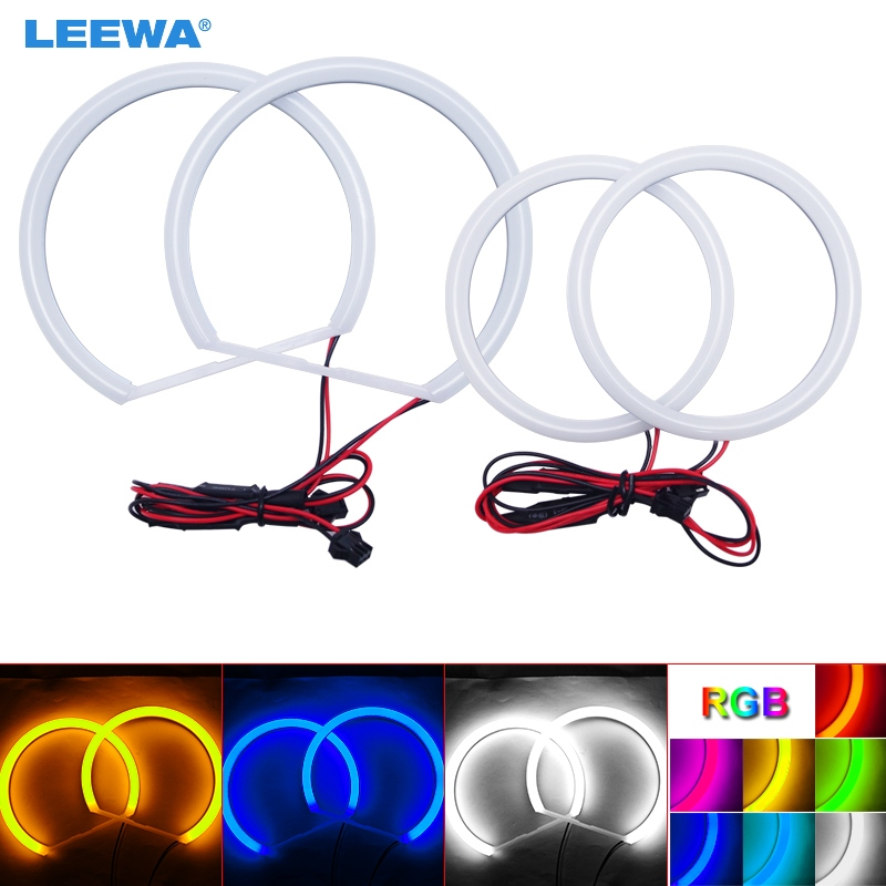LEEWA 2X131mm 2X106mm Car Auto Halo Rings Cotton Lights SMD LED Angel Eyes for BMW E90 Car Styling White/Blue/Yellow/RGB #CA1466
