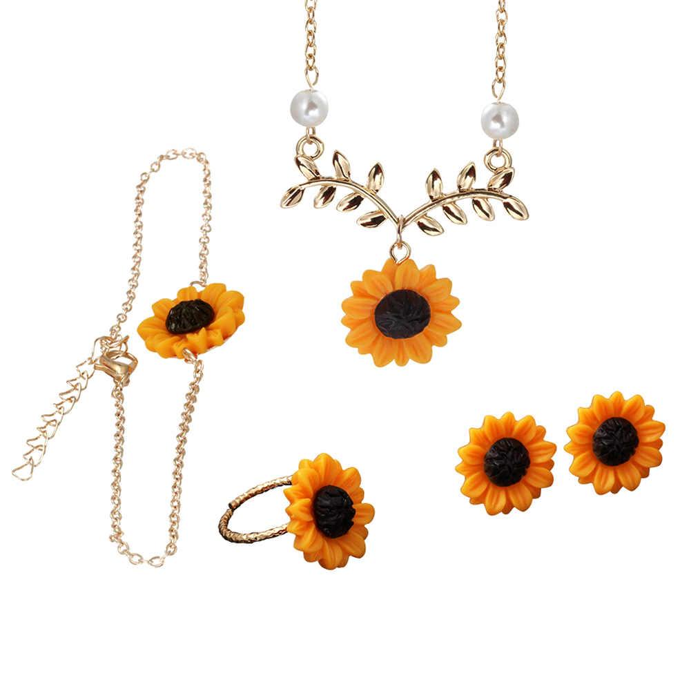 3/5Pcs Lady Sunflower Leaf Faux Pearl Charm Necklace Earrings Bracelet Ring Set wonderful