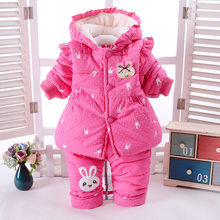2Pcs/Set Winter Baby Girls Clothes Newborn 6-24 Months Add Cotton-Padded Super Warm Long Sleeve+Pant Infant Set Rabbit Design