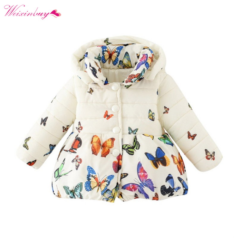WEIXINBUY Kids Girls Winter Floral Coat Children Long Sleeve Hooded Butterfly Print Jacket Warm Outwear raglan sleeve tribal print hooded zip up jacket