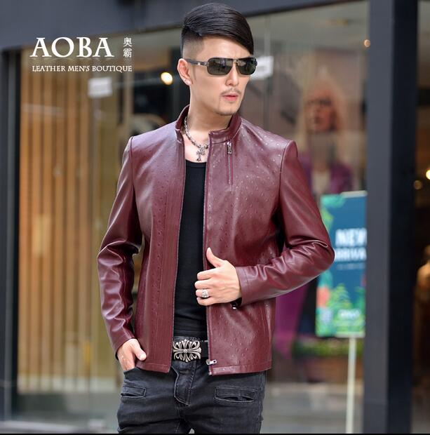 Spring brown slim font b men b font motorcycle faux font b leather b font font