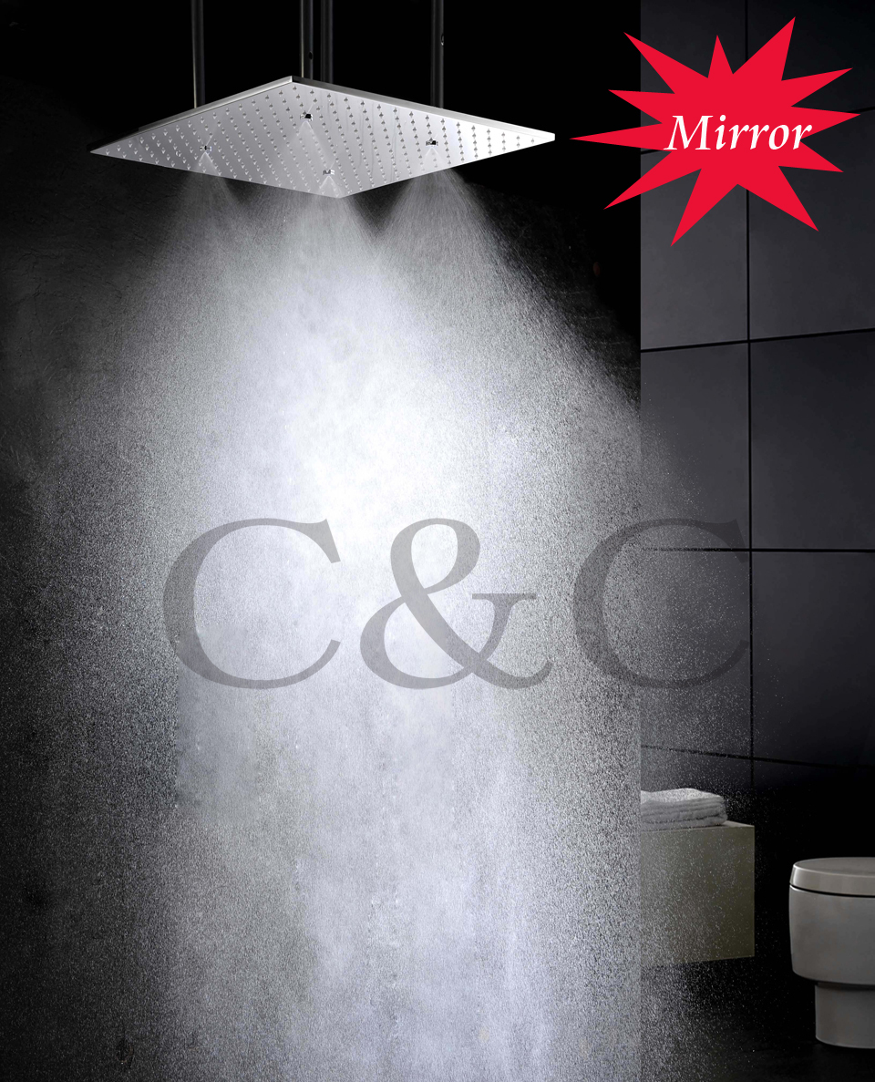 Bathroom rain showers - 20 Inch Ceiling Mounted Mirror Polished Atomizing And Rain Bathroom Shower Head With Arms L