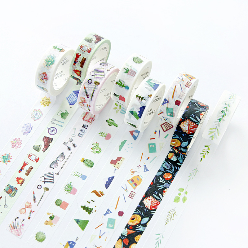 1 PCS 15mmx7m New Plant Flowers Washi Decorative Adhesive Tape DIY Masking Paper Tape Sticker Office Supplies