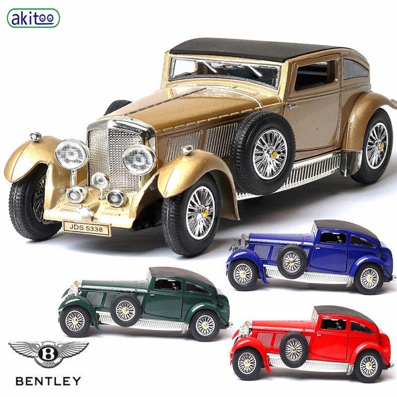 Akitoo Classic Car Model Bentley 1930s 8L Antique Car Model Sound And Light Pull Back Car Ornaments Retro Model Gift #2404