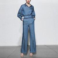 Полный полиэстер распродажа пояса костюм 2019 Новая мода темперамент женская джинсовая рубашка + широкие брюки комплект из двух предметов же
