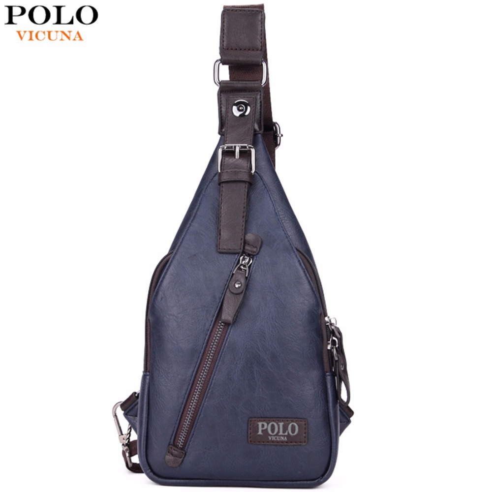 VICUNA POLO Famous Brand Theftproof Magnetic Button Open Leather Mens Chest Bags Fashion Travel Crossbody Bag Man Messenger Bag jeep famous brand men chest bags theftproof magnetic button open fashion leather travel crossbody bag man messenger bag 8005