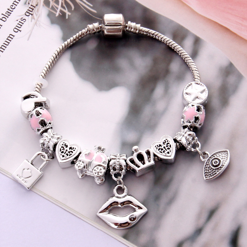Mother Silver Charm Bracelet. Fashion Jewelry