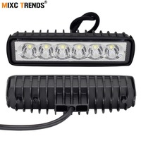 2Pcs 18W Floodlight Spotlight Work LED Light Bar Driving DRL Fog Lamp Motorcycle Offroad SUV 4WD