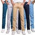 2017 Primavera Nueva Moda Jóvenes Hombres Pantalones de Algodón Pantalones Rectos Ocasionales de Los Hombres (Tamaño de Asia)