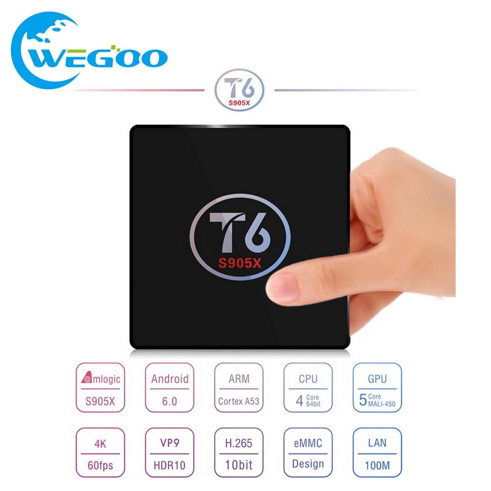 WEGOO S905X T6 TV Box Amlogic Quad Core Android 7.0 Malvavisco Inteligente TV Bo