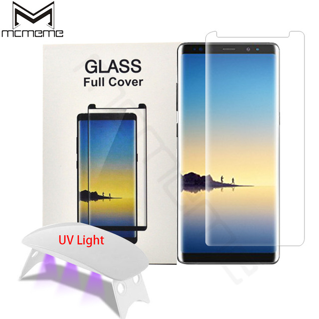 US $13 0 23% OFF|Liquid Dispersion Screen Protector 3D 4D Edge Screen  Coverage with UV Light For Samsung Galaxy S9 S8 Plus Note8 Tempered  Glass-in