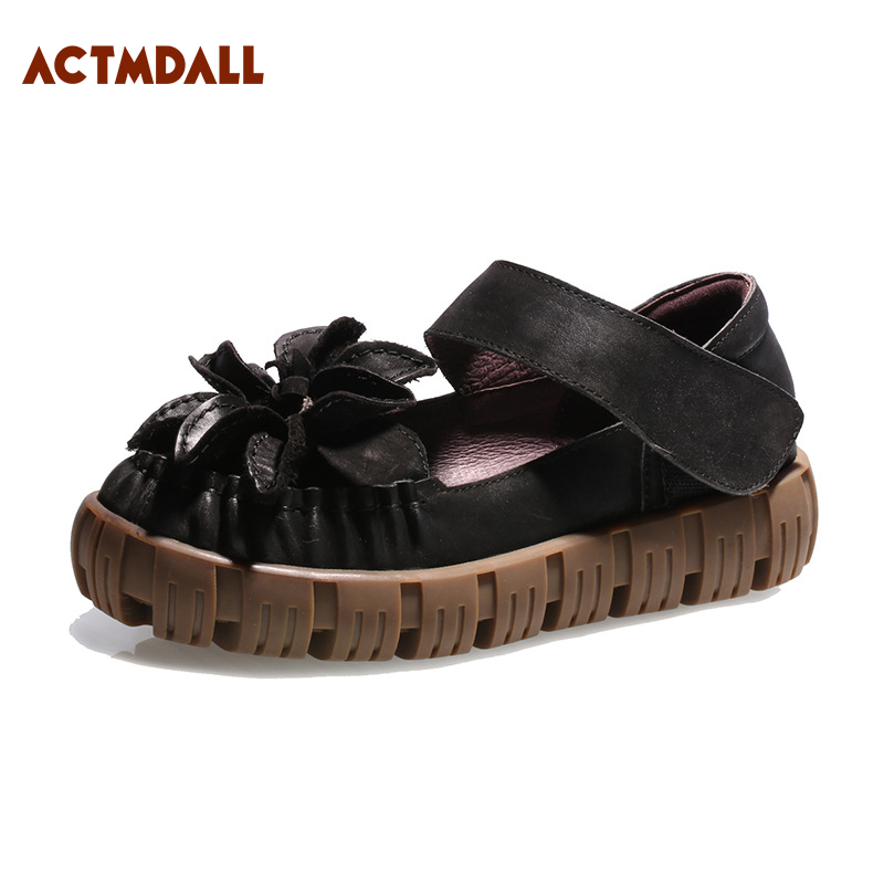Handmade Ladies Shoes 2018 Spring Genuine Leather Flat Platform Casual Women Shoes Thick Sole Shoes For Women