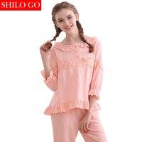 SHILO GO 2017 S Women Home Ruffles Collar Pajamas Set Embroidery Flowers Puff Sleeve Pajamas Suit