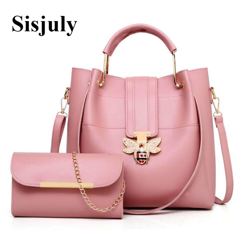 Sisjuly Fashion Large Capacity Women Composite Bags With Bee Luxury Handbag Female Shoulder Bag Designer Leather Causal Tote Sac цена