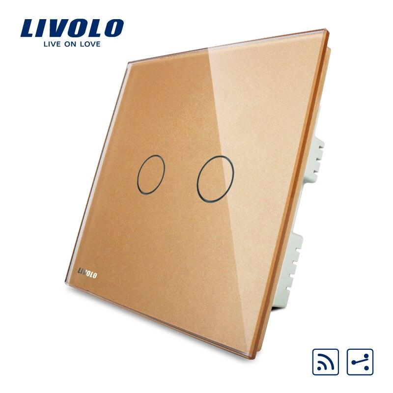 Livolo Smart Switch, AC 220-250V VL-C302SR-63,Golden Crystal Glass Panel, 220V Wireless Remote Home Light UK Switch,NO remote livolo smart home wall switch 2gang 1way uk standard black glass panel touch light switch ac 220 250 v vl c302 62