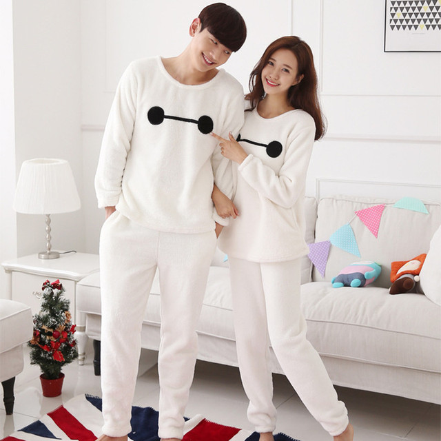 67df1013b2 Pyjamas Men Autumn And Winter Coral Velvet Couple Pajama Thick Long-sleeved  Flannel Cartoon Cute