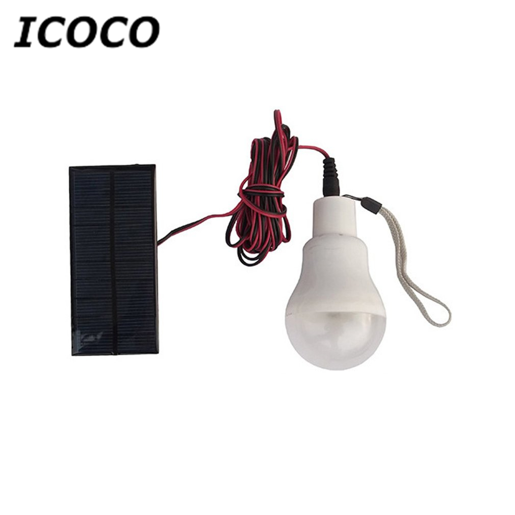 ICOCO Mini Portable Solar Power Emergency Bulb Outdoor Camping Travelling Bulb Rechargeable Handheld Bulb Beach Hanging Bulb