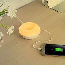 Led Sensor Sweet Donuts Style Smart Cell Phone charging Warm White Night Light 2 USB Port Desktop Table Lamp
