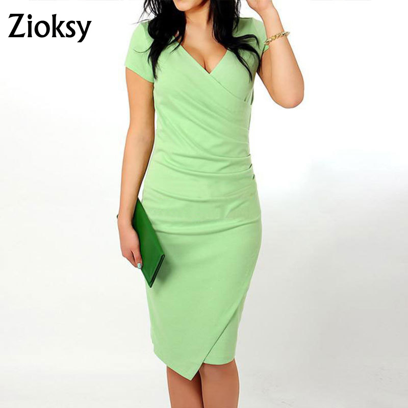 Buy Cheap Zioksy 2017 Summer Women Dress Sexy Candy Color Clubwear Package Hips Slim V-Neck Short Sleeve Wrap Dress 5 Colors