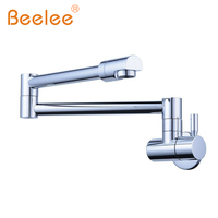 Beelee BL1704 Brass Articulating Kitchen Faucet Pot Filler Double Joint and 360 Degree Rotating Aerator Wall Mount 1/2 Inch IPS