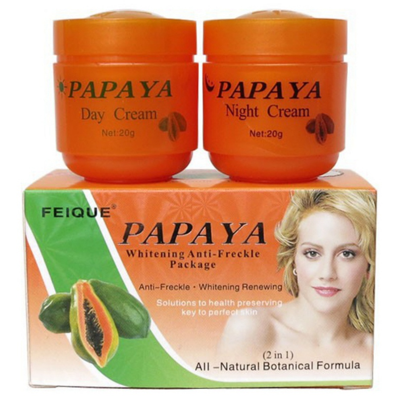 2pcs/lot Papaya Whitening Cream For Face Anti Freckle Natural Botanical Formula Skin Care Day Cream+night Cream+pearl Cream