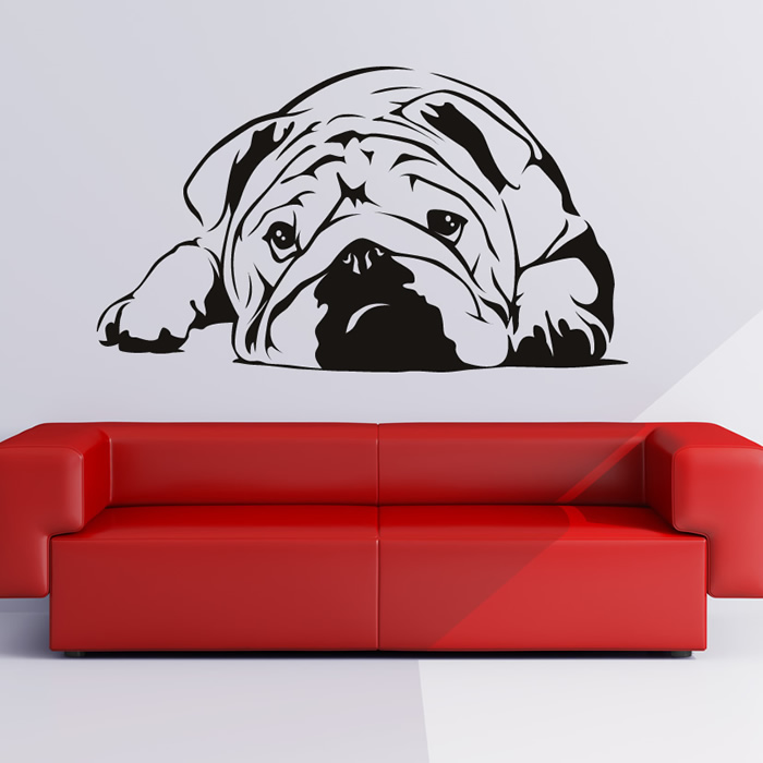 reino unido bulldog perro etiqueta de la pared arte tatuajes de pared extrable pet pug cachorro