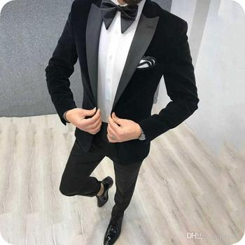 Latest Coat Pant Designs Black Velvet Men Suit Prom Tuxedo Slim Fit 2 Piece Groom Wedding Suits For Men Blazer Terno Masuclino