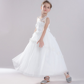 Girls 3-12 Y Summer Ankle Length Sleeveless White Gauze Floral Appliques Dress Fashion Ball Gown Costume Princess Girl Dresses
