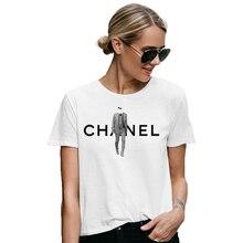8e3671dcf4d 2019 Karl Fashion parrain imprimé T-Shirt femmes blanc été Vogue t-shirts  Top luxe parfum marque Designer Lagerfeld T-Shirt