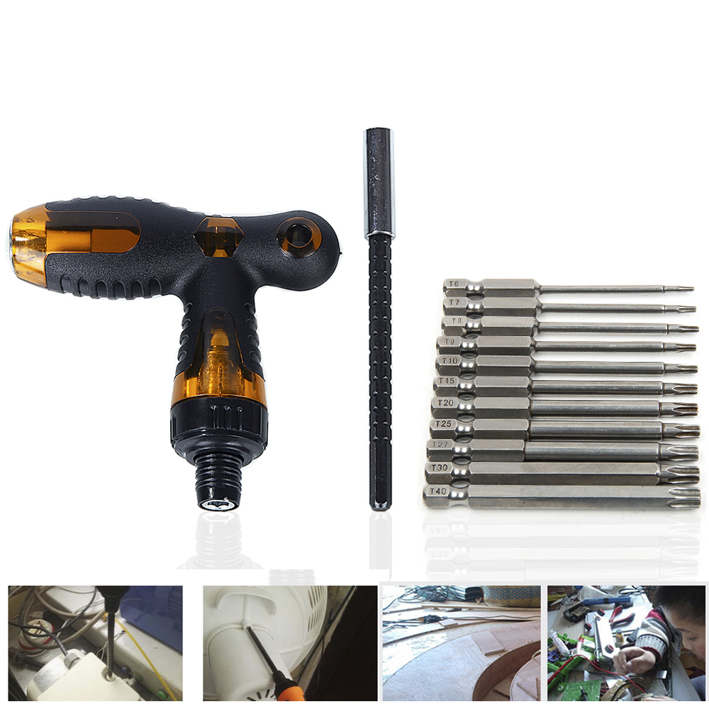 Hakkin T-Style Screwdriver Handle Ratchet Wrench T Handle Screw Driver Kit with 75mm Hex Torx Head Drill Screwdriver Set Bits