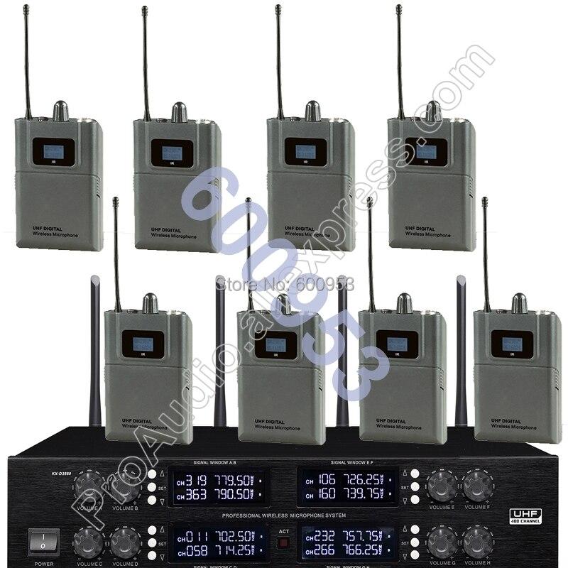 MICWL Wireless Radio Digital Microphone System -8 Beltpack 8 Lavalier Sets for Stage karaoke performance etc.
