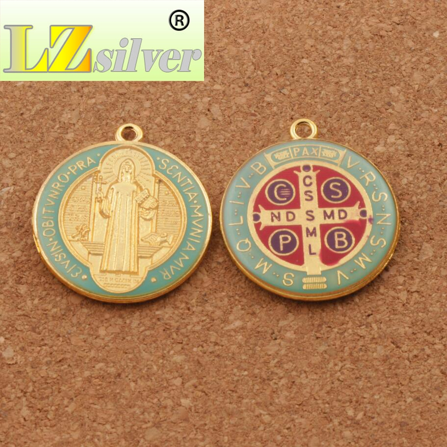 Enamel Saint Benedict Medal Cross Crucifix Smqlivb Spacer Beads 2pcs - Perhiasan fesyen - Foto 3