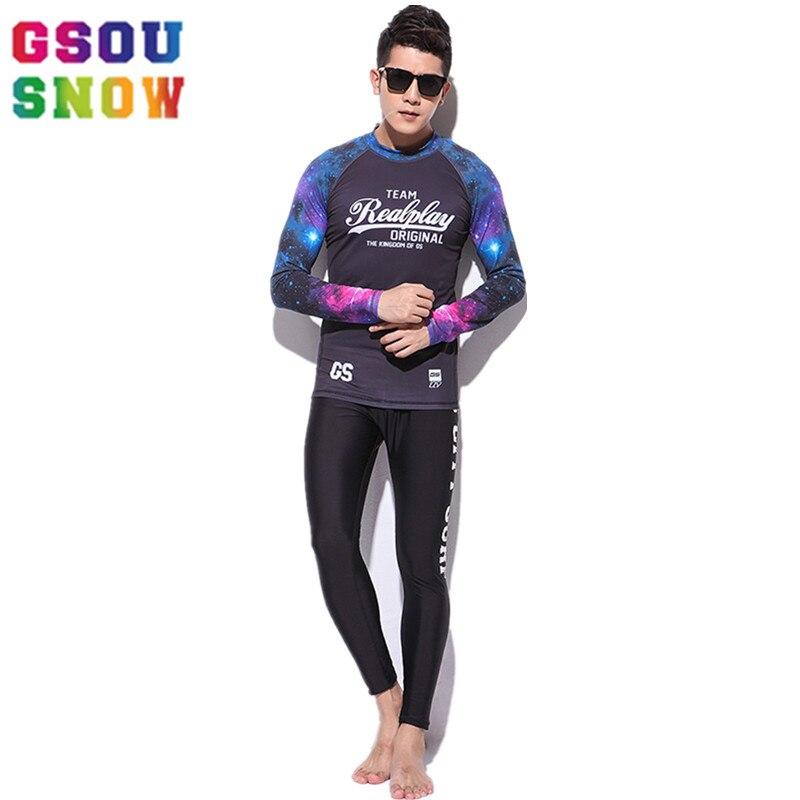 Gsou Neige Marque combinaison de plongée Rash Guard Hommes à manches longues Plongée Chasse Sous-Marine Combinaison maillot de bain surf natation Split Costume combinaison de surf