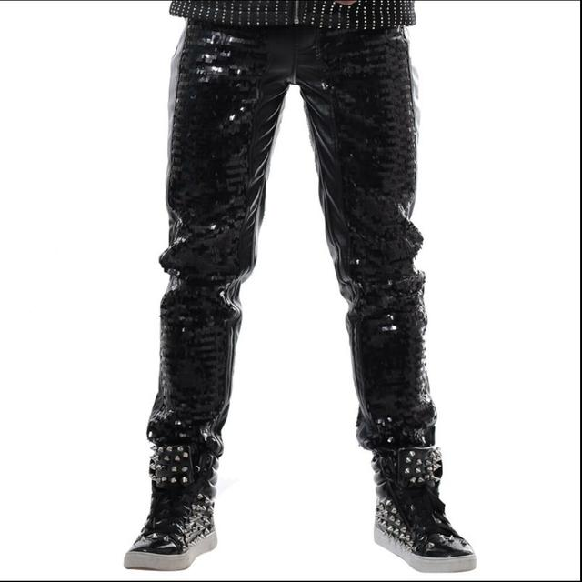 8c1d1fd1e5a3 28-40 Men Black Sequined Casual Leather Pants Rock Slim Punk Trousers  Nightclub Bar DJ Stage Singer Costumes Performance Clothes