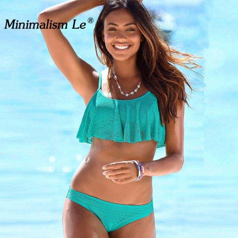 Minimalism Le Sexy Bandage Bathing Suits Bikinis 2018 Swimwear Women Swimsuit Flounced Biquini Maillot De Bain Bikini Set BK788