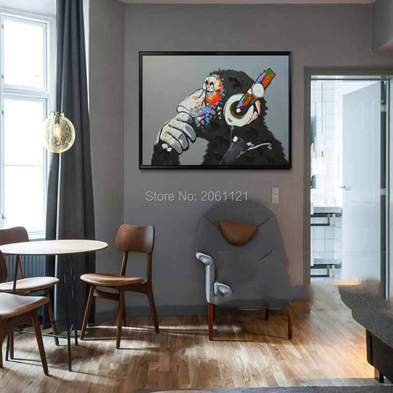 Hand painted black gray animal wall paintings