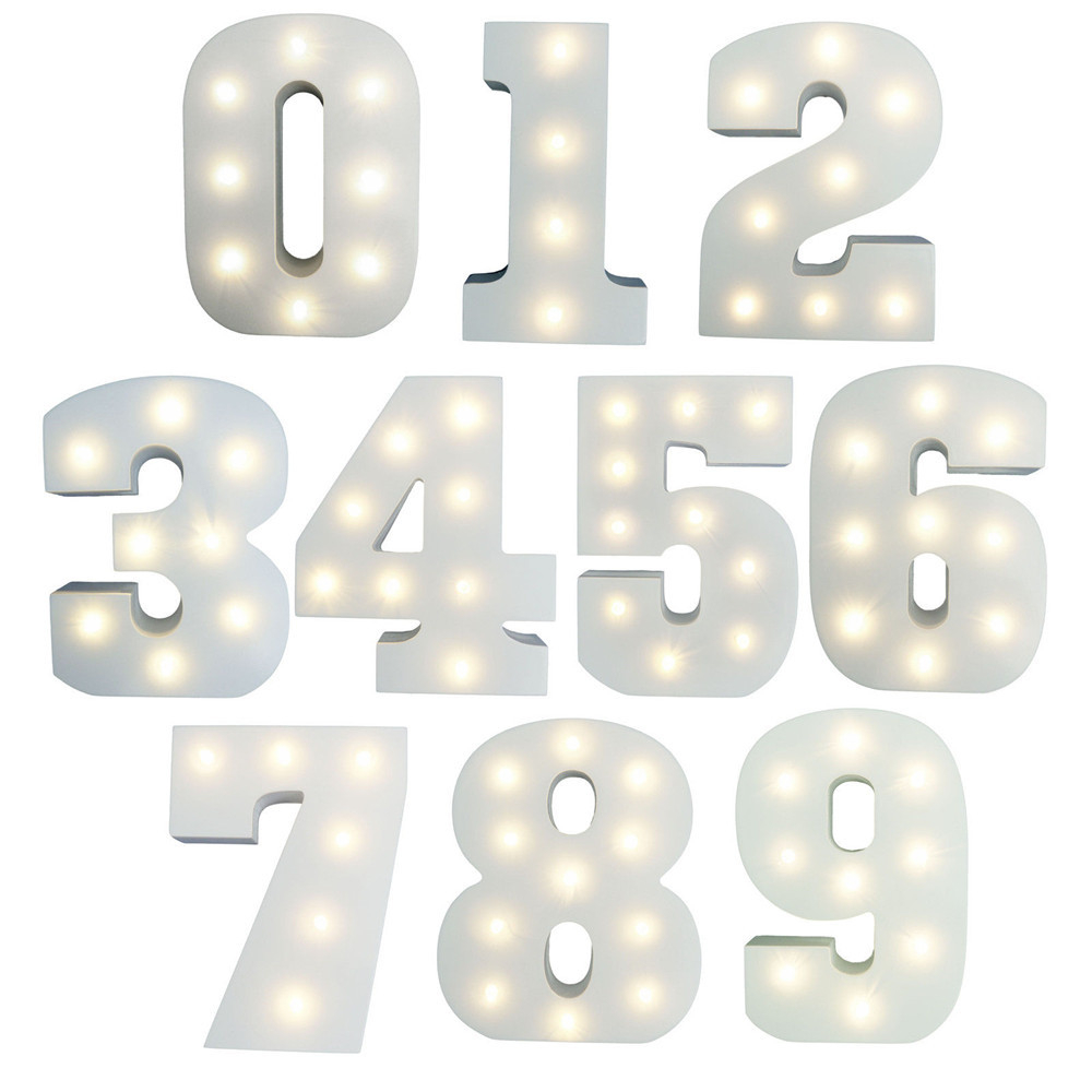 0-9 LED-nummerplaten oplichten voor elke gelegenheid Verjaardagen / jubilea 15 cm Houten LED-letters oplichten LED Night Wedding