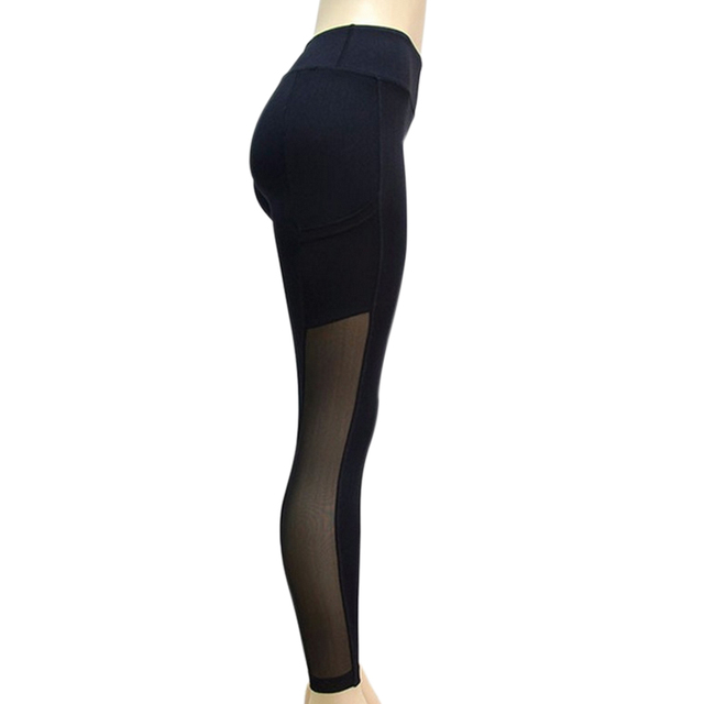 Fashion Leggings Mesh Splice Slim Elastic  Fitness Pants with Pockets