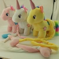 30cm Colorful luminous electric unicorn plush toy walking music unicorn figurine stuffed animal shape horse toy for children